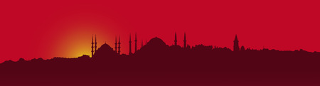 Dark contour, Istanbul on a red background Иллюстрация