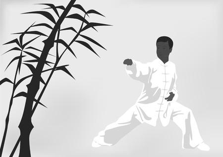 kung fu: The man engaged kung fu on a black white background Illustration