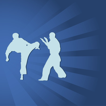 kwon: Тhe illustration, two men are engaged in karate