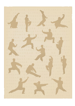 Set of images of people of engaged Kung fu Illustration