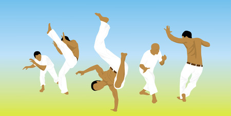 Illustration, five men are engaged capoeira on sand