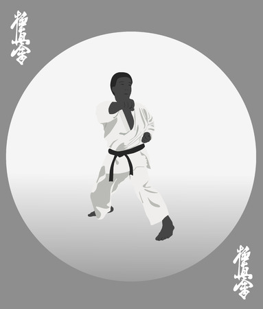 traits: The illustration, the person in a kimono is engaged in karate