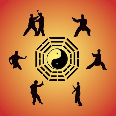 Set of images of people of engaged Kung fu Çizim