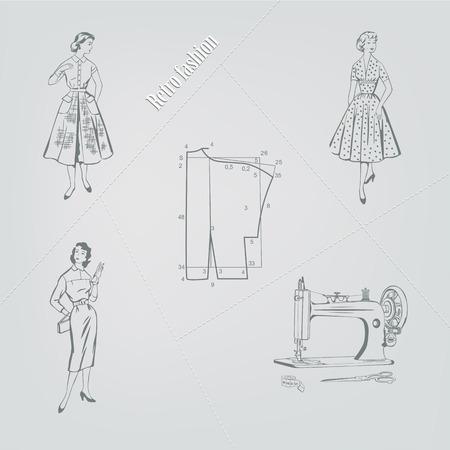mode retro: Illustratie, retro mode op een grijze achtergrond Stock Illustratie