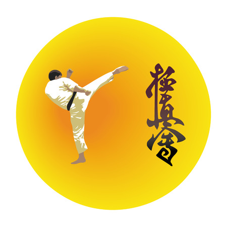 kick out: The illustration, the man shows karate on a bright background Illustration