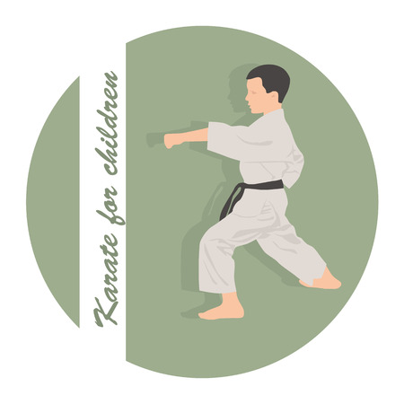 The emblem, the boy is engaged in karate on a green background Illustration