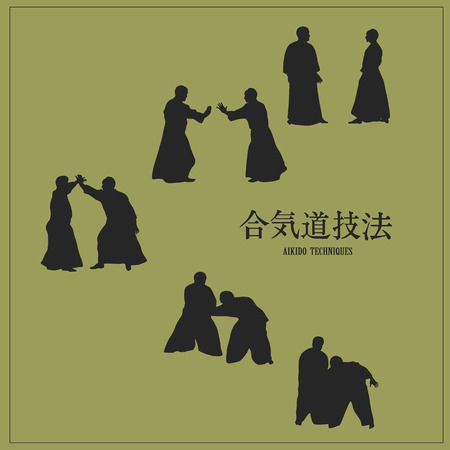 Illustration, men engaged aikido, on a green background.