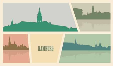 Contour of buildings in the city of Hamburg.