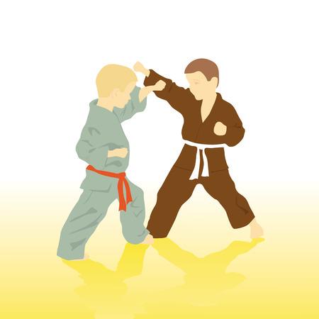 tae: Dos ni�os est�n empleados en el karate. Vectores