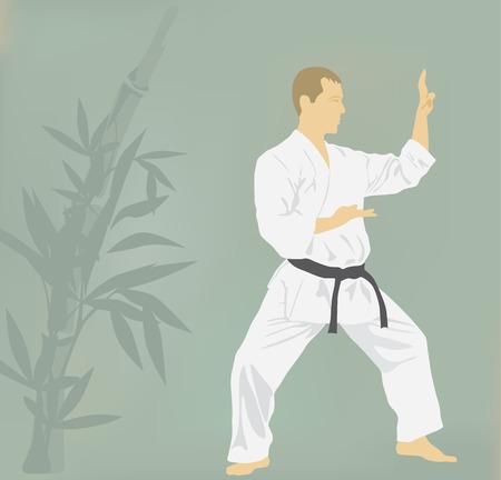 dan: The illustration, the man is engaged in karate. Illustration