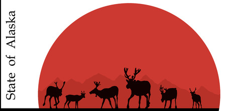 alaskabo: Illustration av Alaska, hjort mot solen. Illustration