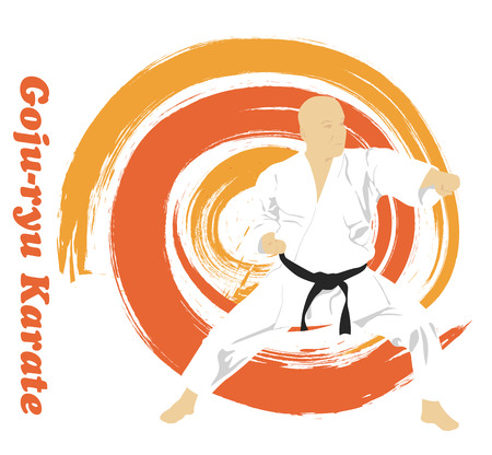 The illustration, the man is engaged in karate on a bright background. Illustration