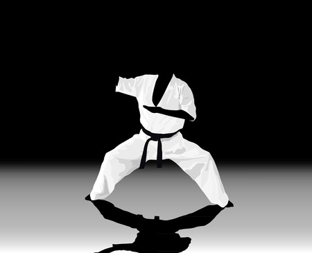 zwart wit achtergrond: The illustration, the man is engaged in karate on a black white background.