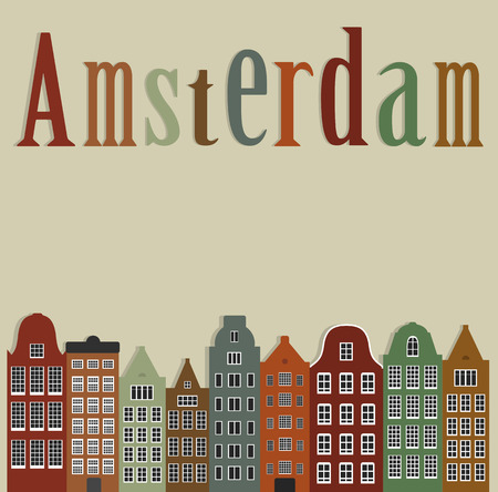 Old colourful houses of the city of Amsterdam. Illustration