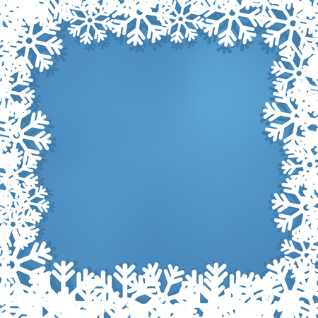 New Years frame from snowflakes, on a blue background. Illustration