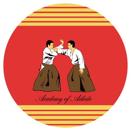 Emblem of aikido, two men get busy on a red background. Vector