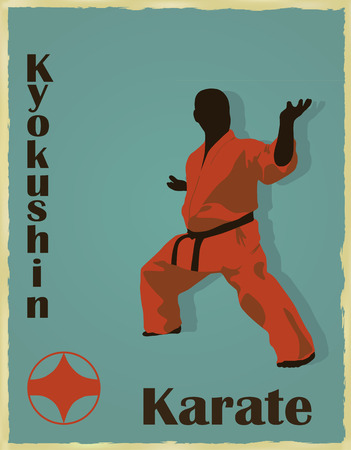 The old image of the man of the engaged karate.