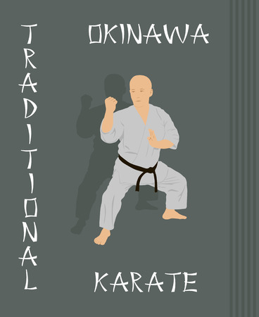 kata: The man is engaged in karate on a green background. Illustration
