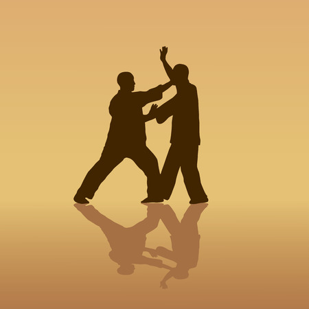 Two men are engaged in the Kung  fu on a yellow background. Illustration