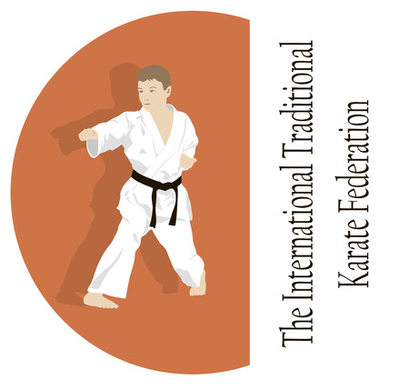 engaged: The emblem, the young man is engaged in karate. Illustration