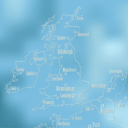 ireland cities: Creative Great Britain map and Ireland. Illustration