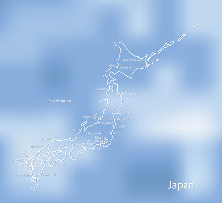 cartographer: The map of Japan on an indistinct blue background. Illustration