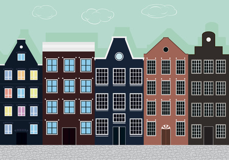 family in front of house: Original colourful European houses. Illustration