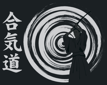 budo: Aikido, the man with we throw on an abstract background.