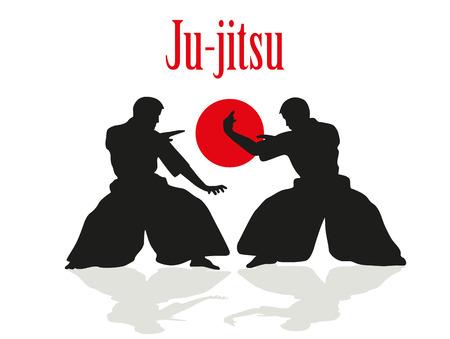 jujitsu: Two men are engaged in Ju-jitsu fight. Illustration