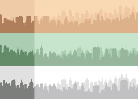 built tower: Set of an original vector city silhouette. Illustration