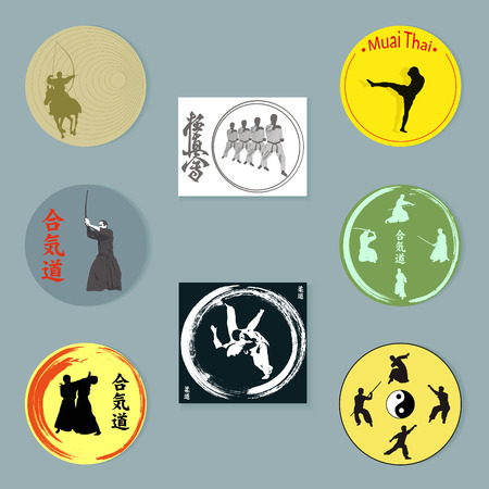 Set of images of various martial arts.