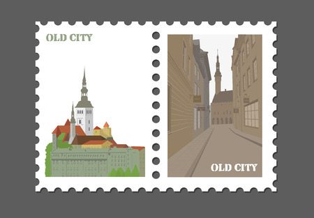 Stamp with the image of the old city.
