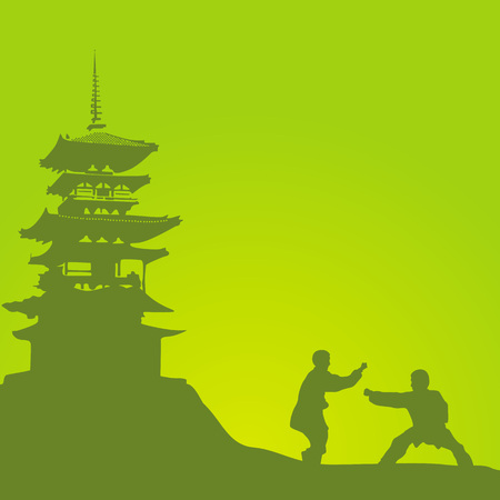 Two men are engaged in a kung fu against the monastery. Illustration