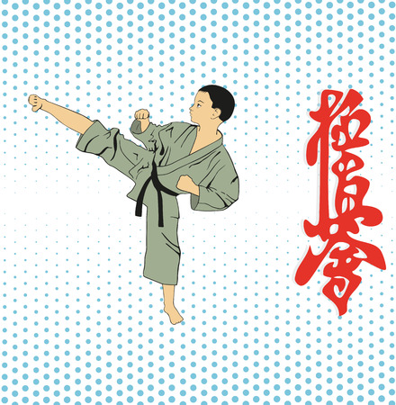 The boy shows karate on a light background.