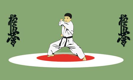 karate: The boy showing karate.