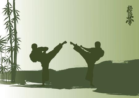 karate: Men are engaged karate.