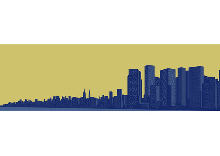 Contour of the big city on a yellow background Illustration