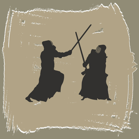 bamboo stick: Two men engage in martial arts.