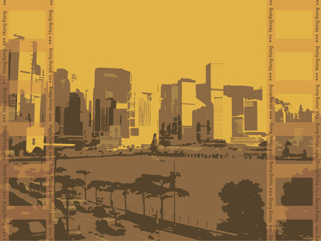 hong kong harbour: Illustration, the city of Hong Kong on a yellow background.