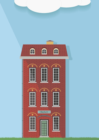 red brick: Illustration, the red brick house on a light background.