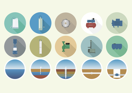 sewage system: Set of icons with the pump equipment. Illustration