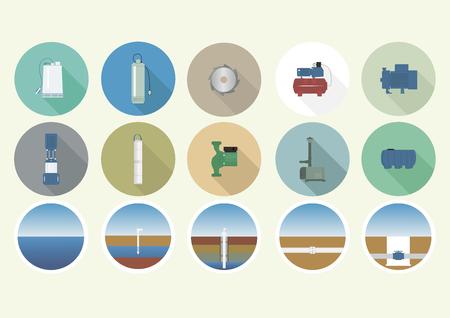 Set van iconen met de pomp apparatuur.