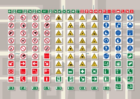 schemes: Set of pictograms for cards and city schemes.