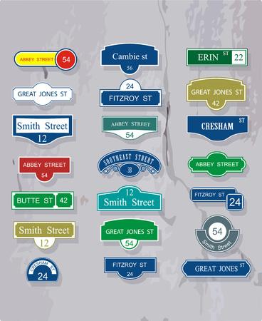 Set van tabellen voor de namen en de nummering van de straten