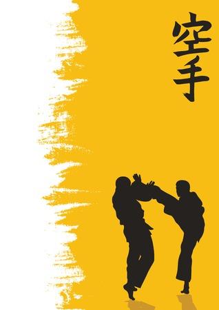 hieroglyph: Hieroglyph of karate and men demonstrating karate.