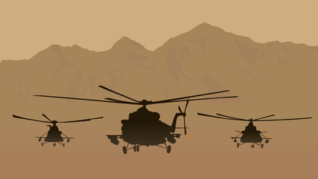 helicopters: Illustration, fighting helicopters in attack.