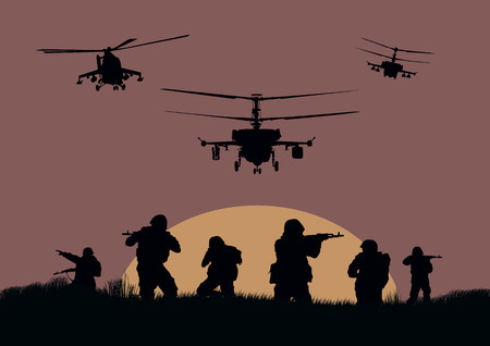 militant: Illustration, the soldiers going to attack and helicopters.