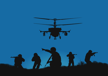 Illustration, the soldiers going to attack and helicopters. Vetores