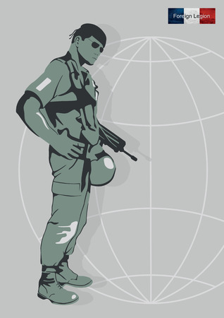 militant: Illustration of a soldier of the Foreign Legion.
