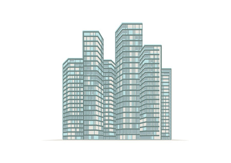 highrise: Illustration, high-rise buildings of the city.